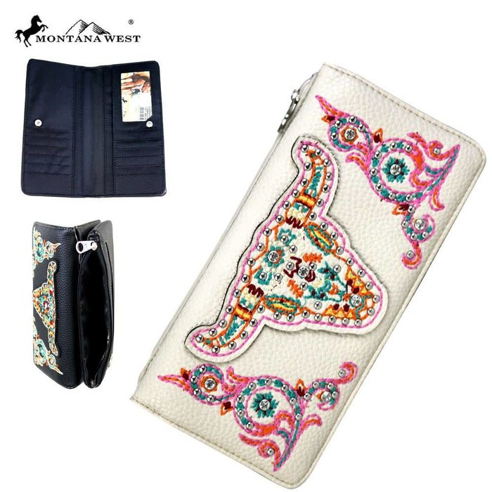 Cream Longhorn Embroidered Wallet