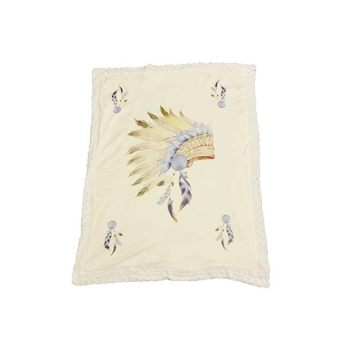 Indian Head Dress White Minky Baby Blanket