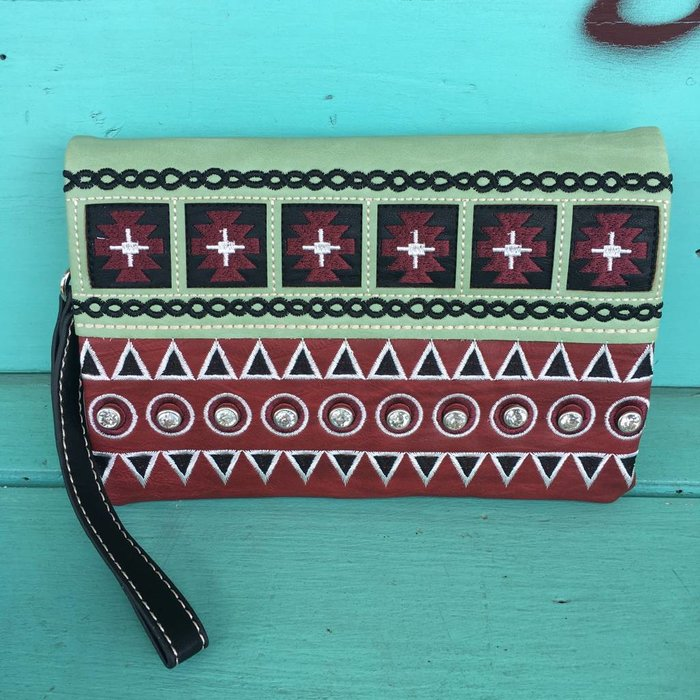 Red Aztec Embroidered Clutch Purse