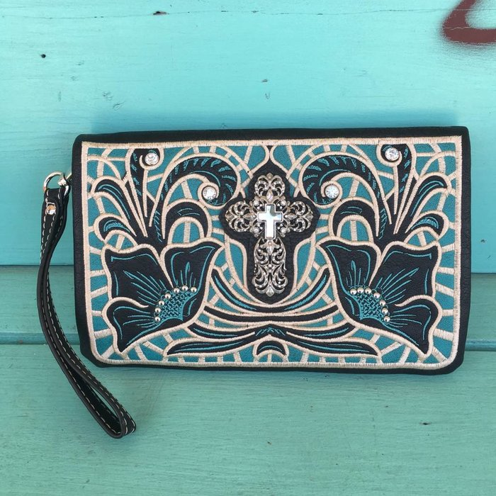 Black & Turquoise Embroidered Cross Clutch Purse