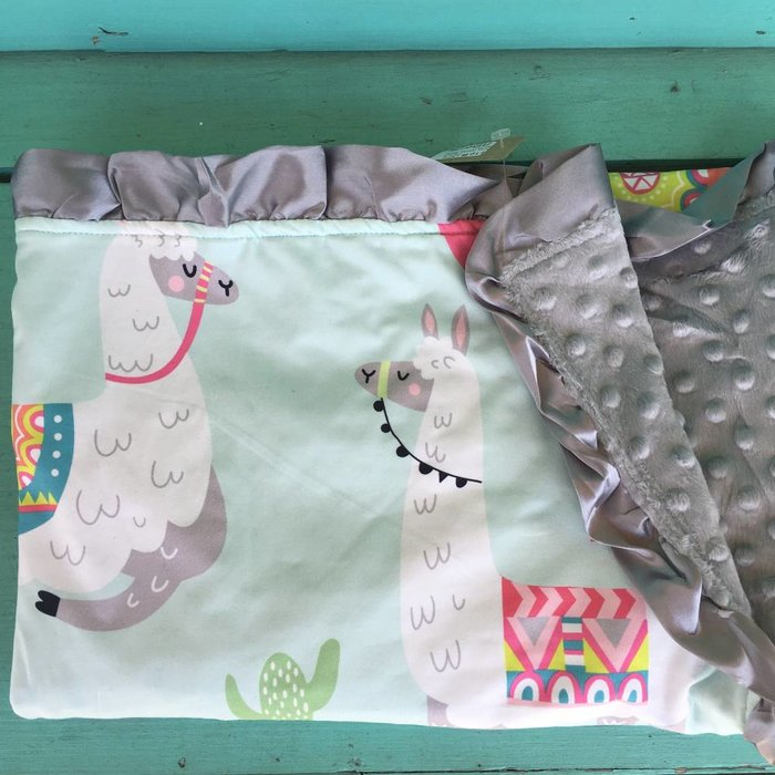 Llama Cactus Grey Minky Baby Blanket