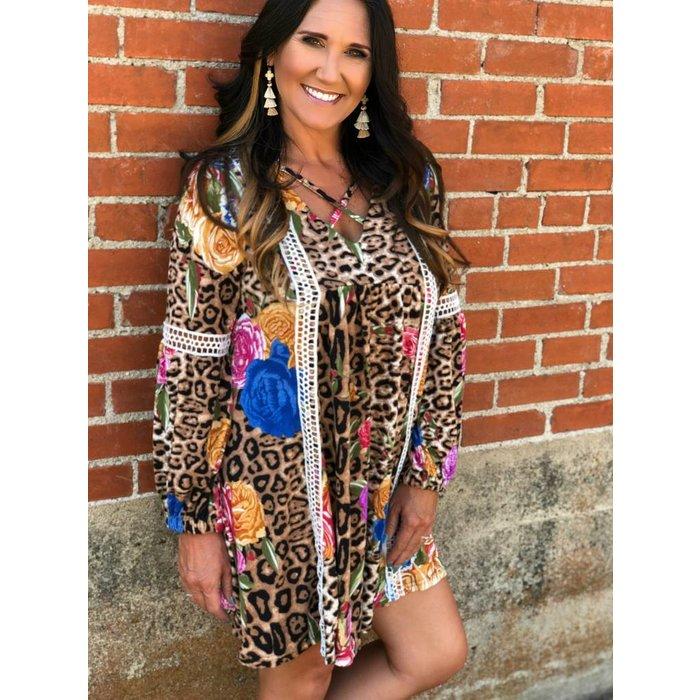 Rosie Leopard Criss Cross Long Sleeve Dress