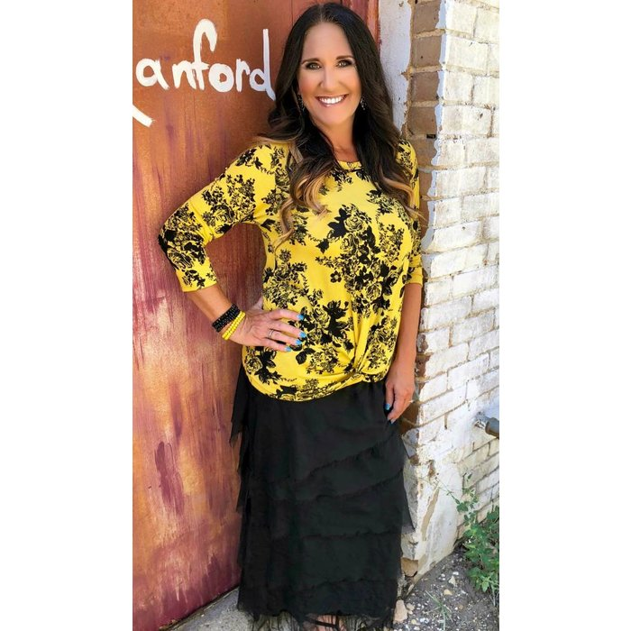 Mustard & Black Floral Twist Front Top