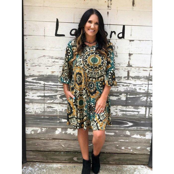 Teal & Mustard Boho Ruffle Sleeve Dress w/Pockets