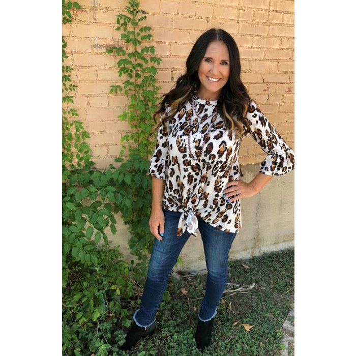 Brown & Cream Leopard Bell Sleeve Top