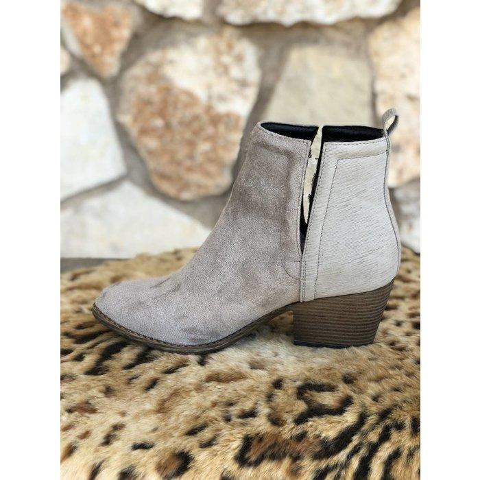 Giant Grey Slit Side Slip On Bootie