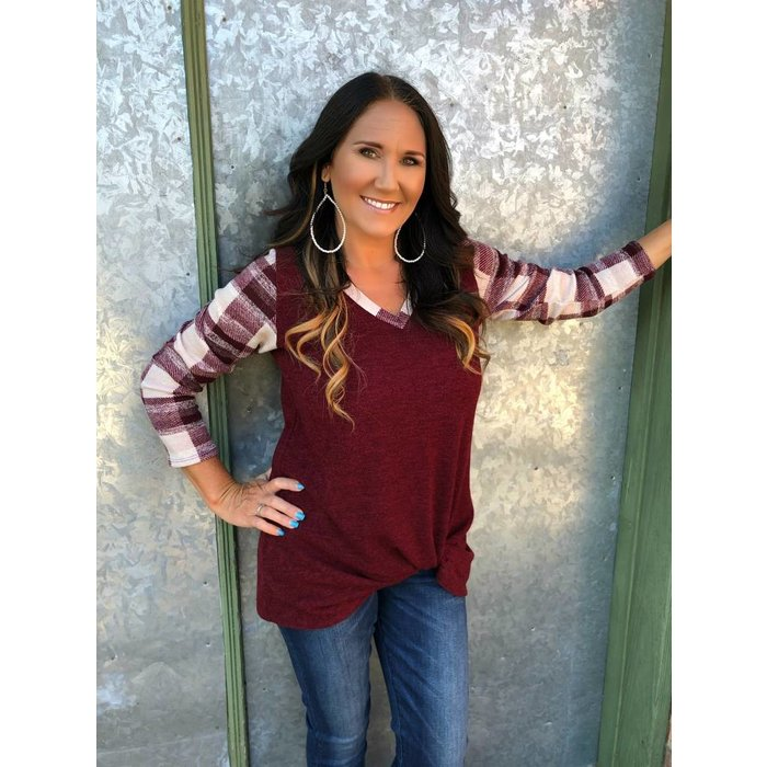 Solid Burgundy V-Neck Plaid Sleeve Top