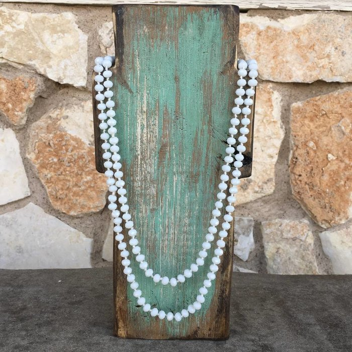 White Crystal Knotted Long Necklace 60""
