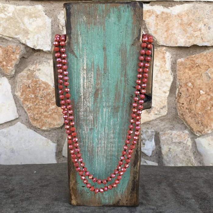 "Dark Burnt Orange 60"" Crystal Necklace"