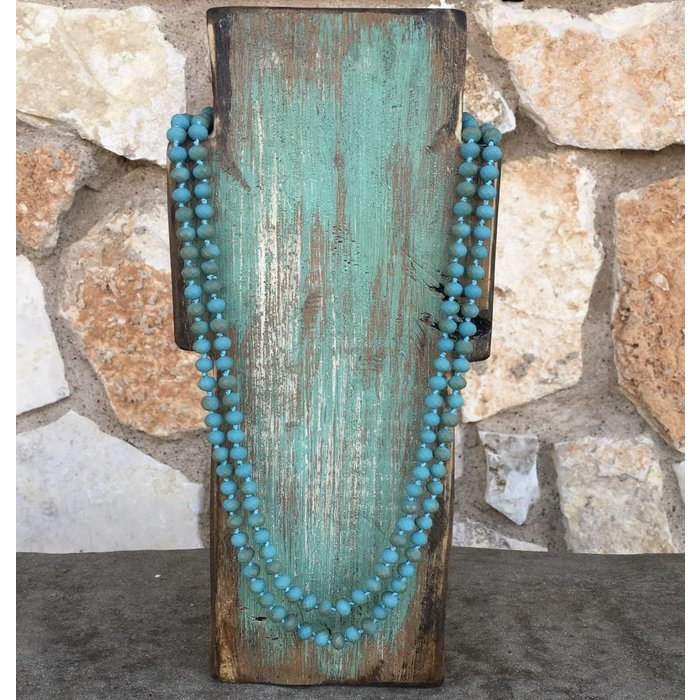 "Matte Turquoise 60"" Crystal Necklace"