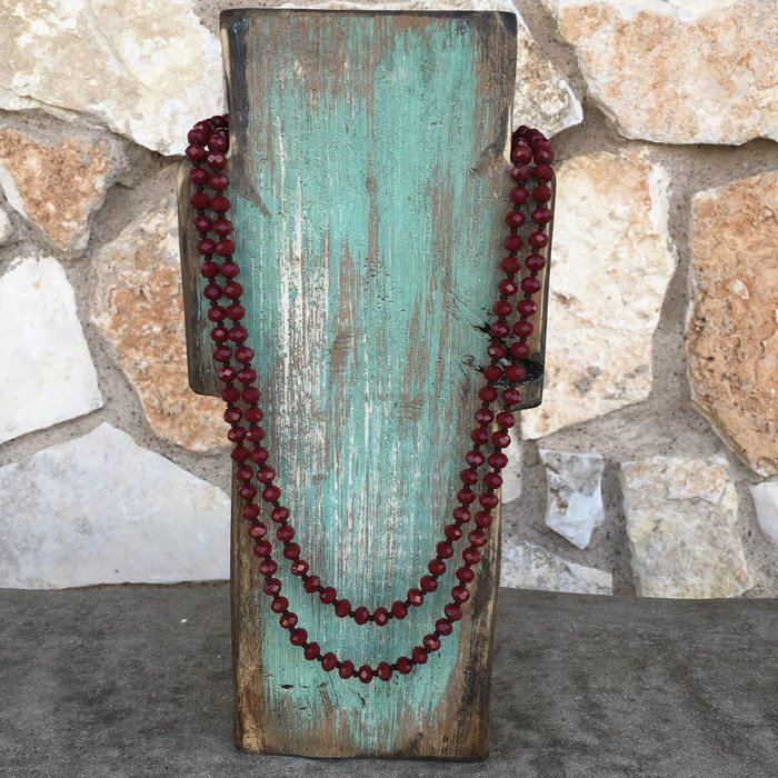"Dark Maroon 60"" Long Beaded Crystal Necklace"