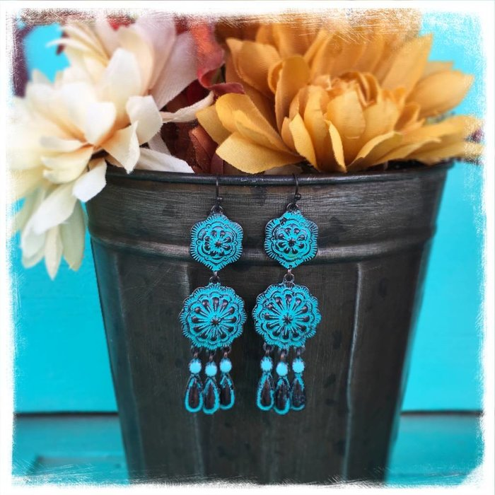 Patina Concho Dangle Earring