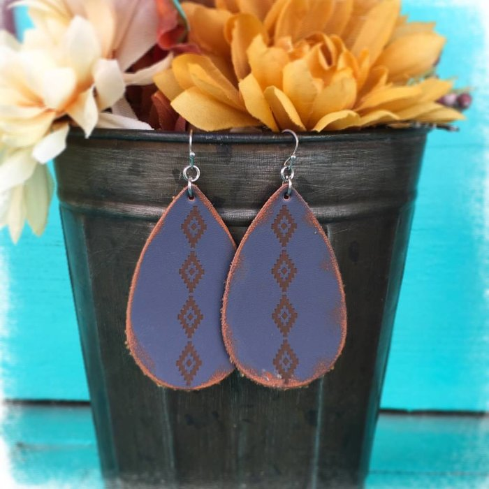 Leather Grey Aztec Teardrop Earring
