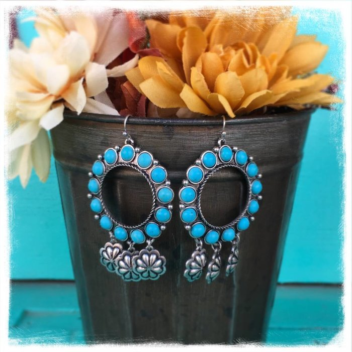 Burnish Silver & Turquoise Round Open Concho Earring