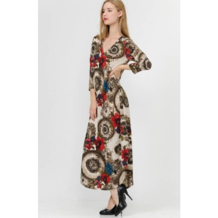 Mocha Boho Floral Maxi Dress