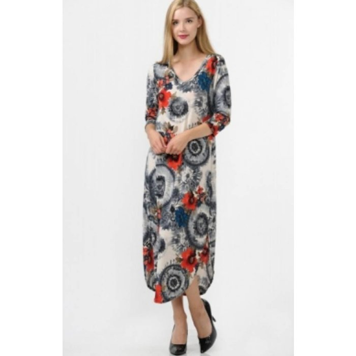 Grey Boho Floral Maxi Dress