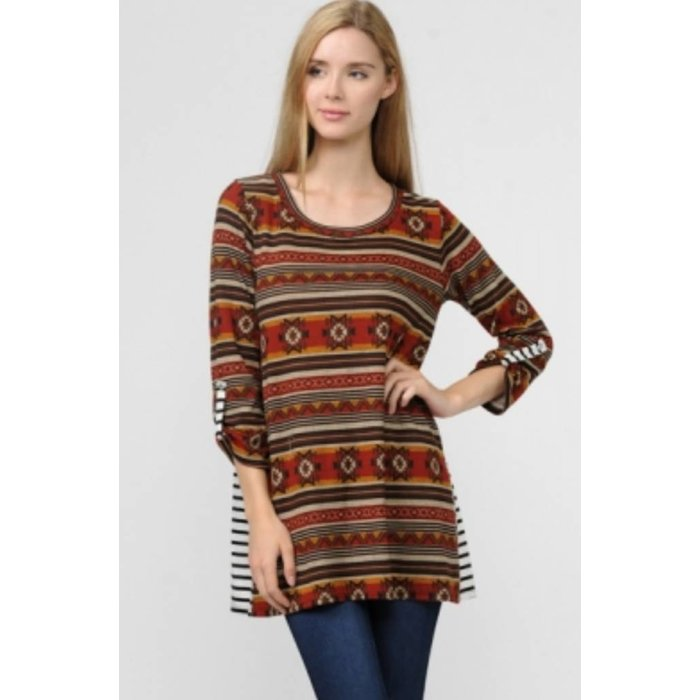 3/4 Sleeve Knit Aztec Striped Back Top
