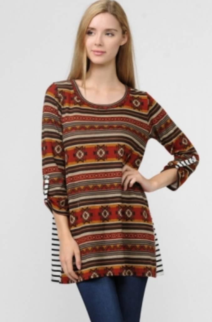 34 Sleeve Knit Aztec Striped Back Top Theblingboxonline