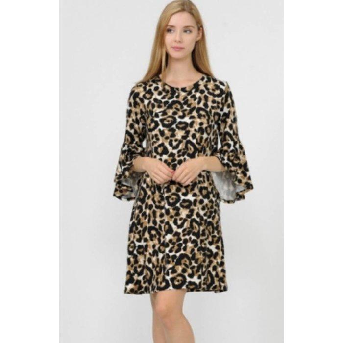 Leopard Dress with Split Bell Sleeves
