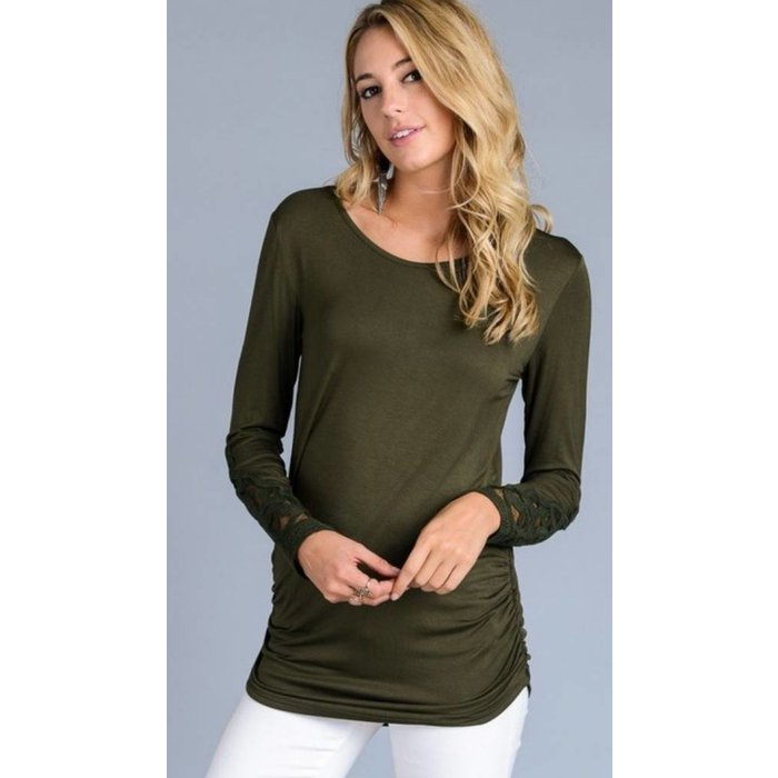 Olive Top with Lace Crochet Sleeves