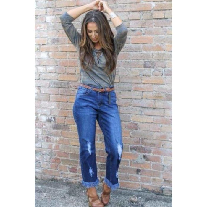 Dark Wash Frayed Boyfriend Jeans