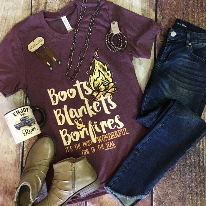 Maroon Boots Blankets & Bonfires T-Shirt