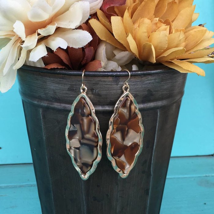 Brown Gold Damask Earring