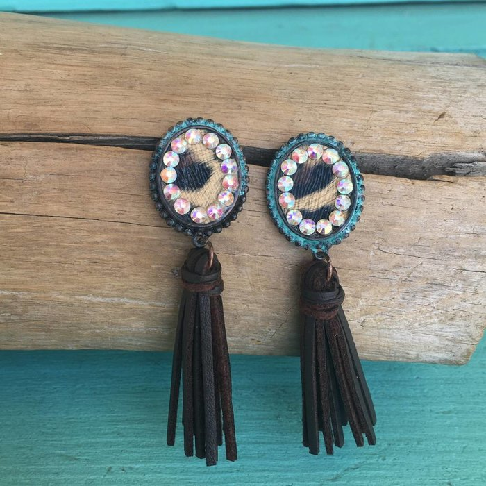 Patina Leopard AB Leather Tassel Earring