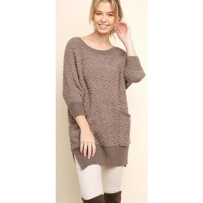 Mocha Short Sleeve Sweater w/Pockets