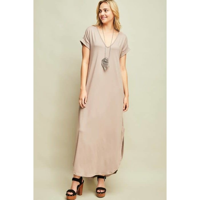 Shitake V-Neck Maxi Dress