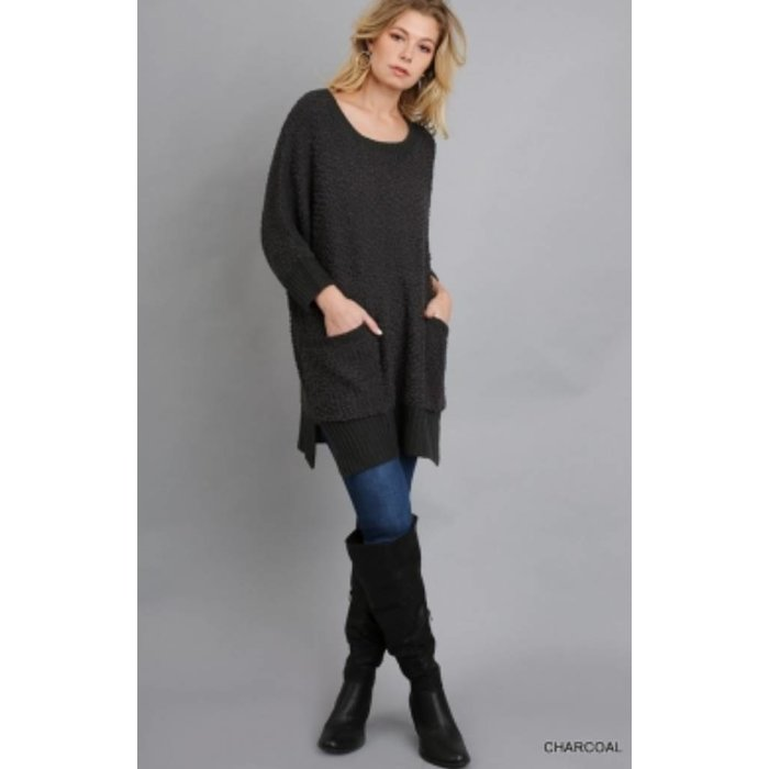 Charcoal Short Sleeve Sweater w/Pockets