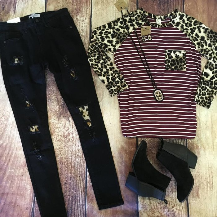 Black Skinny Leopard Patch Jeans