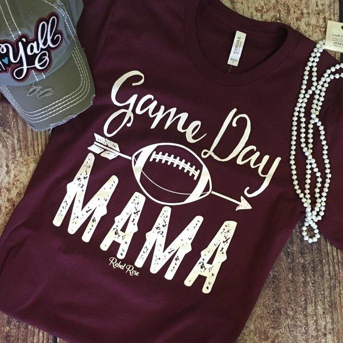 Maroon Game Day Mama Crew Neck T-Shirt