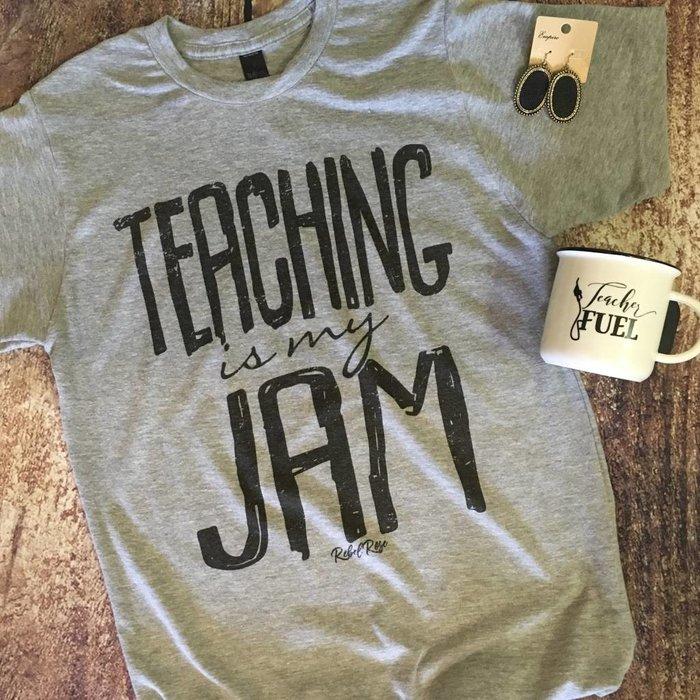 Grey Teaching is My Jam Crew Neck T-Shirt