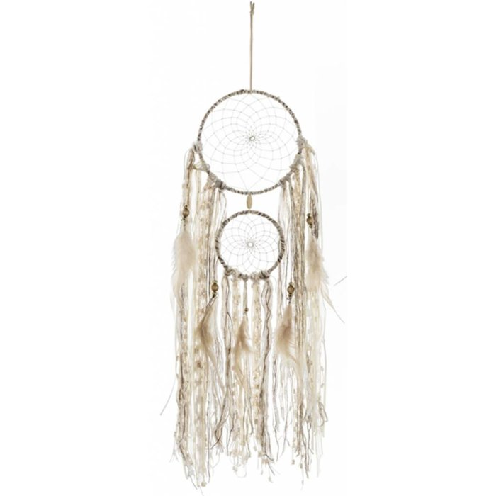 Nautral Two Ring Dreamcatcher with Feathers