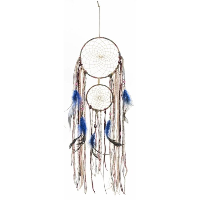 Multi Color Two Ring Dreamcatcher with Feathers