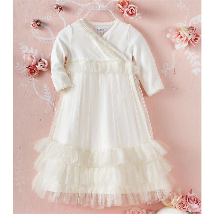 White Tiered Ruffle Mesh Gown (0-3 MONTHS)