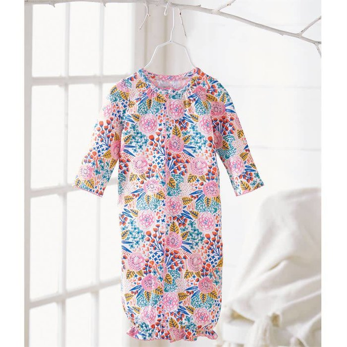 Tropical Floral Print Convertible Gown (0-3MOS)