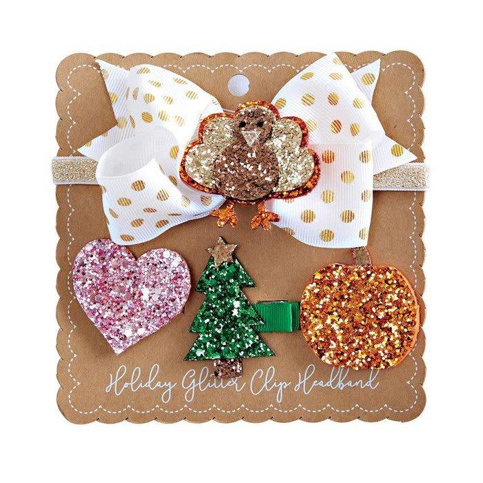 Holiday Glitter Clip Headband Set