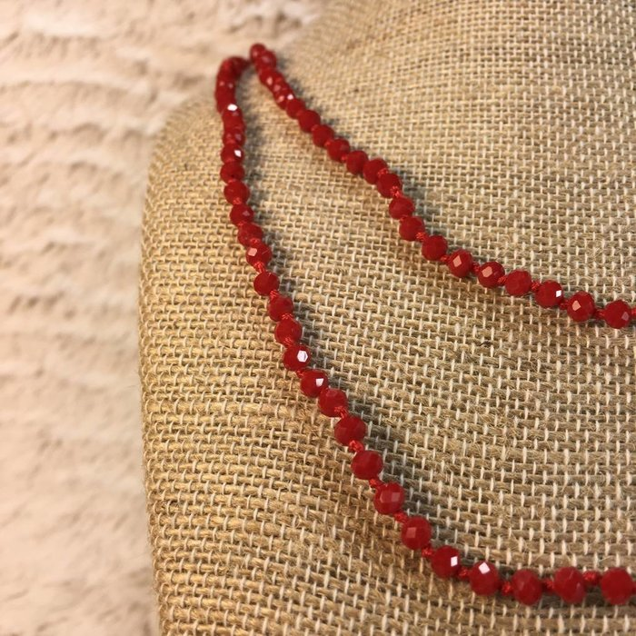 """Skinny Red 60"""" Crystal Necklace"""