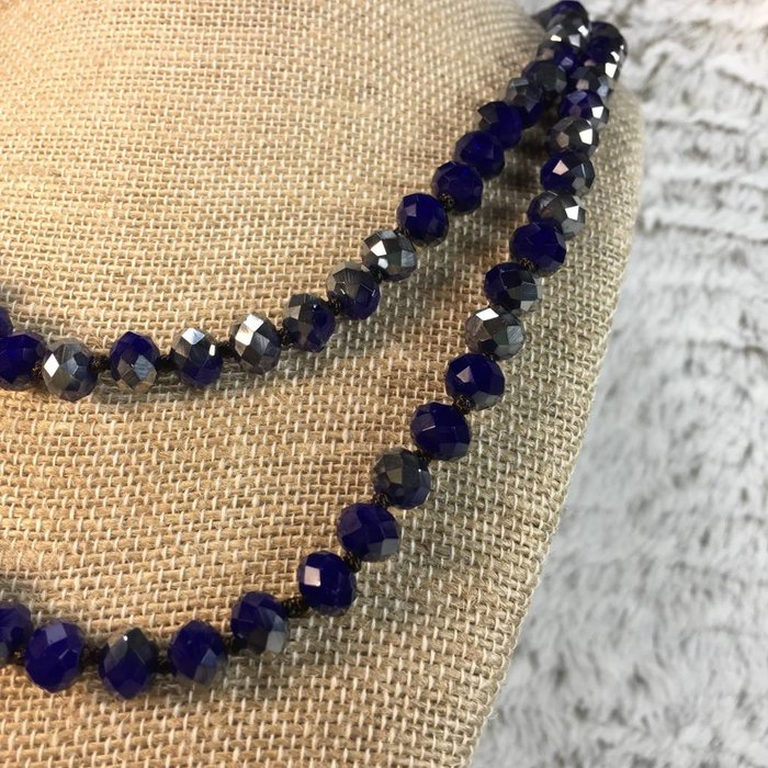 """Royal Blue 60"""" Crystal Beaded Necklace"""