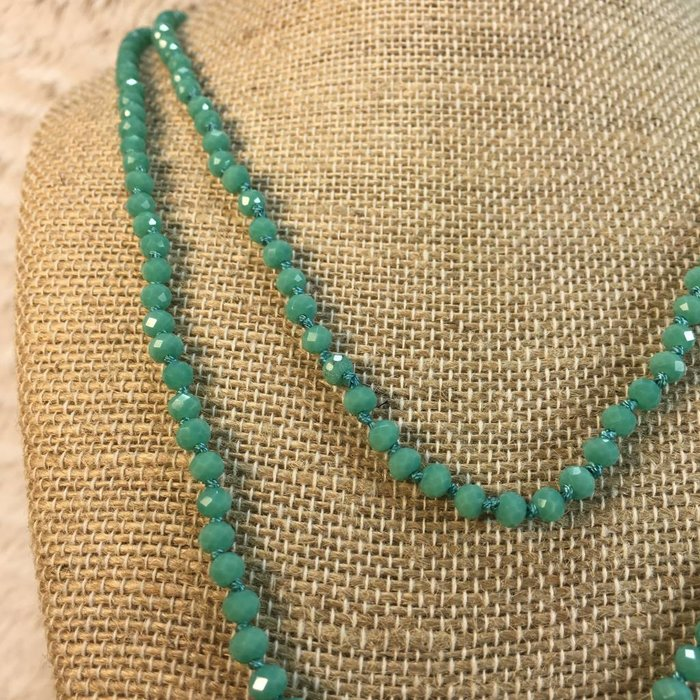 """Skinny Turquoise 60"""" Crystal Necklace"""