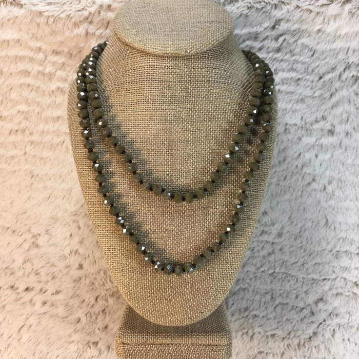 """Olive 60"""" Crystal Beaded Necklace"""