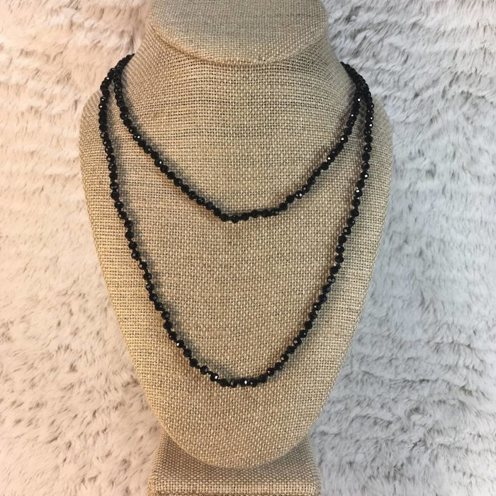 "Skinny Black 60"" Crystal Necklace"