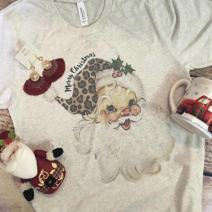 Oatmeal Vintage Leopard Santa T-Shirt