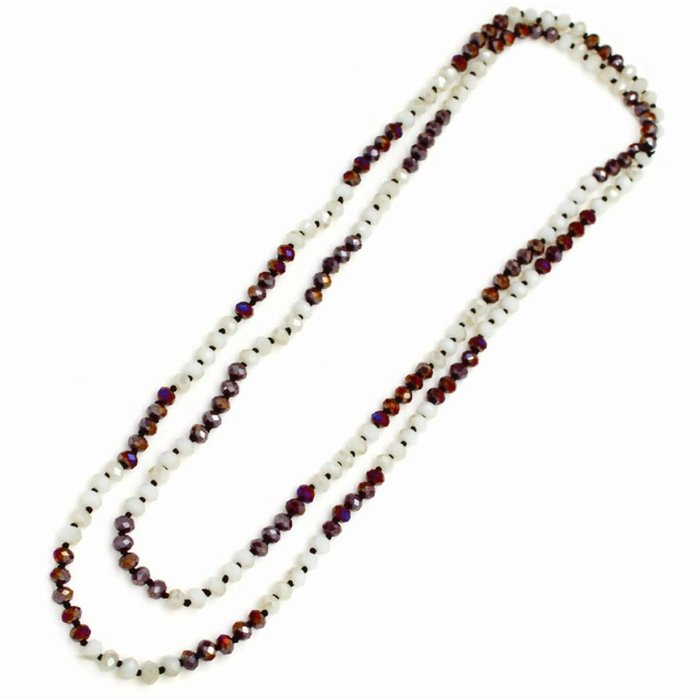 """Maroon & White 60"""" Crystal Beaded Necklace"""