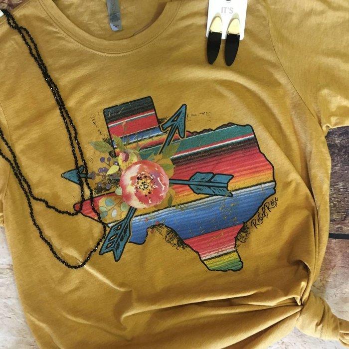 Mustard Floral Serape Texas T-Shirt
