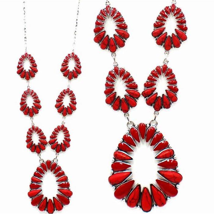 Red & Silver Open Concho Blossom Necklace