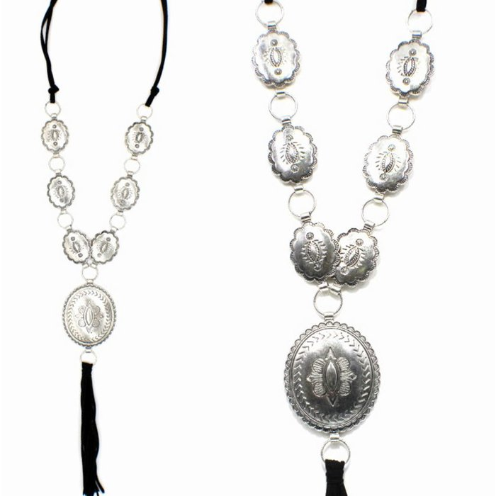 Burnish Silver Long Concho Necklace with Black Tassel