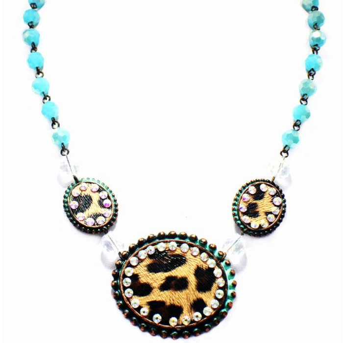 3-Oval Leopard Turquoise Crystal AB Necklace